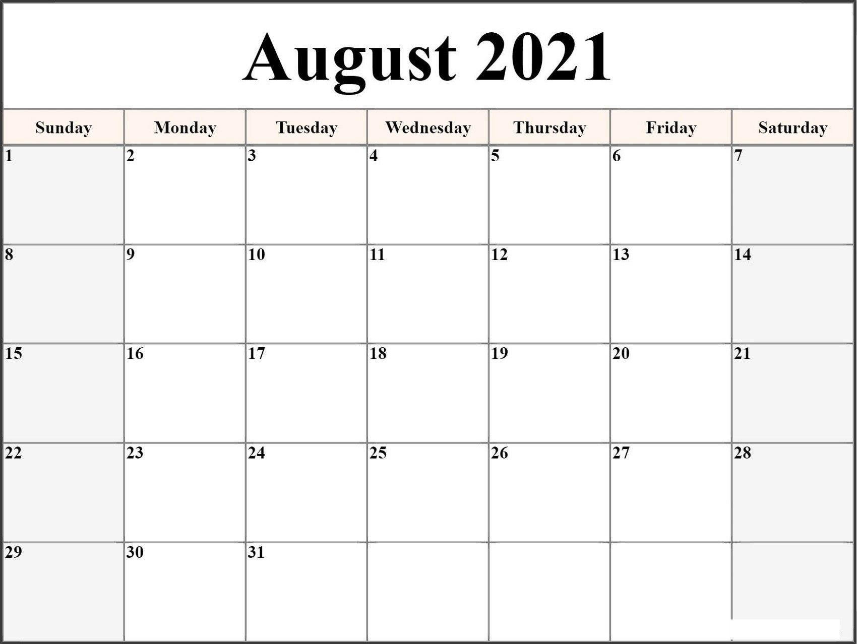 2021 Monthly Calendar Template Word