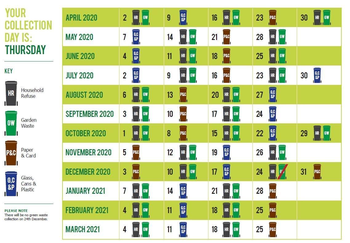 2021 Refuse Recycling Collection Calendar | Calendar 2021