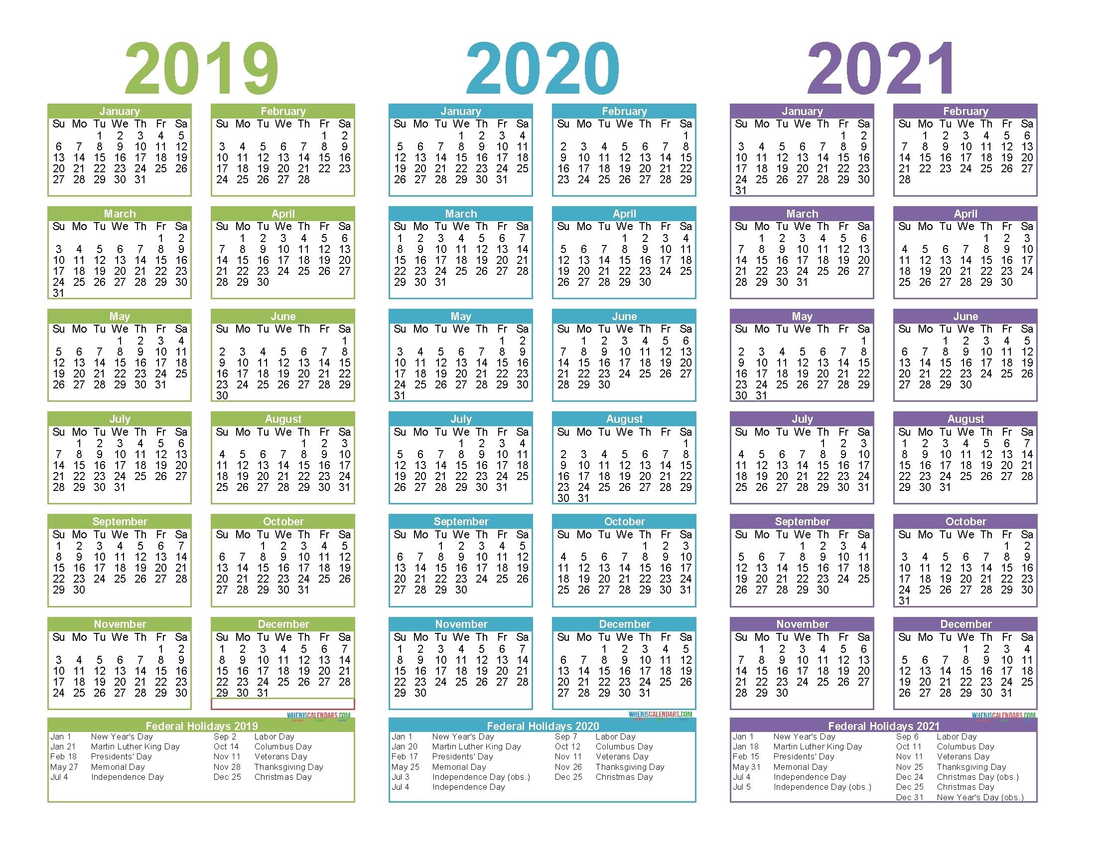 3 Year Calendar Printable 2019 2020 2021 - Calendar