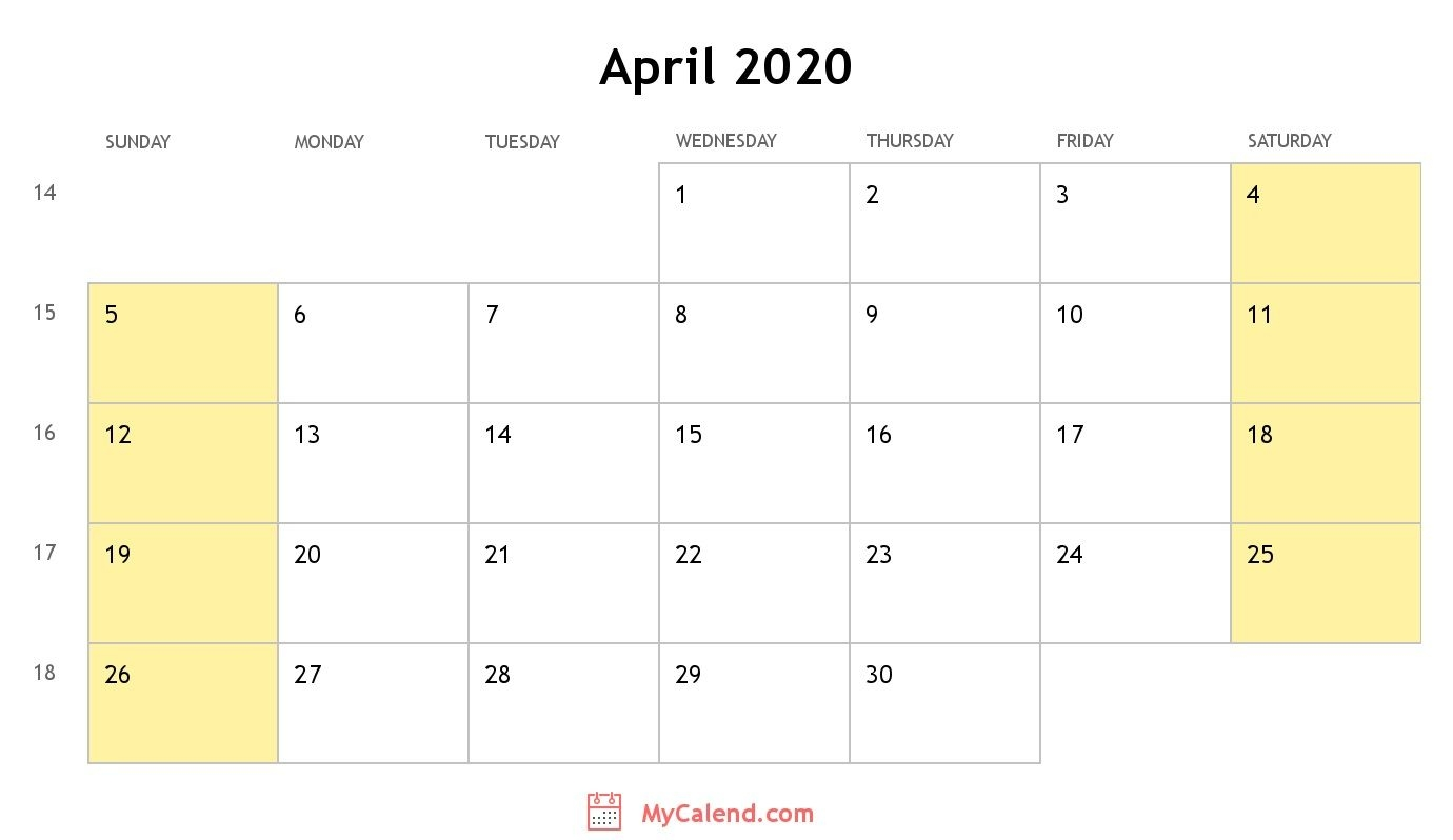 April 2020 Calendar With Holidays - Monthly Printable Calendar