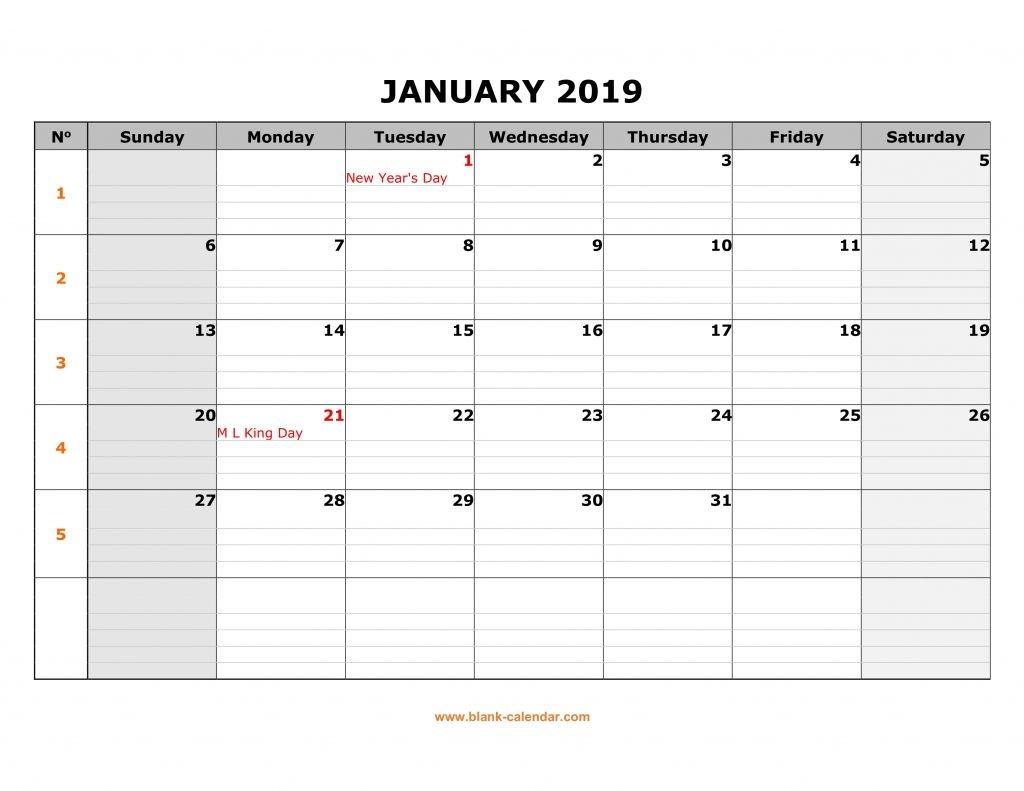 Blank Printable Calendar With Lines - Calendar Template 2020