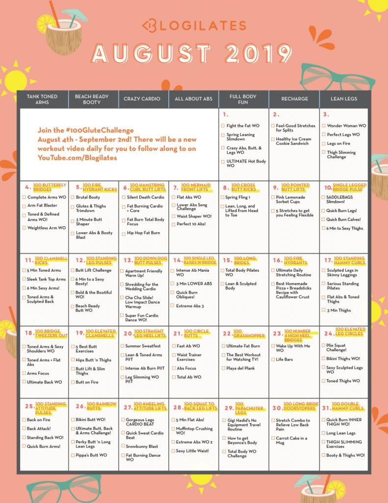 Blogilates August 2020 Challenge - Calendar Template 2020