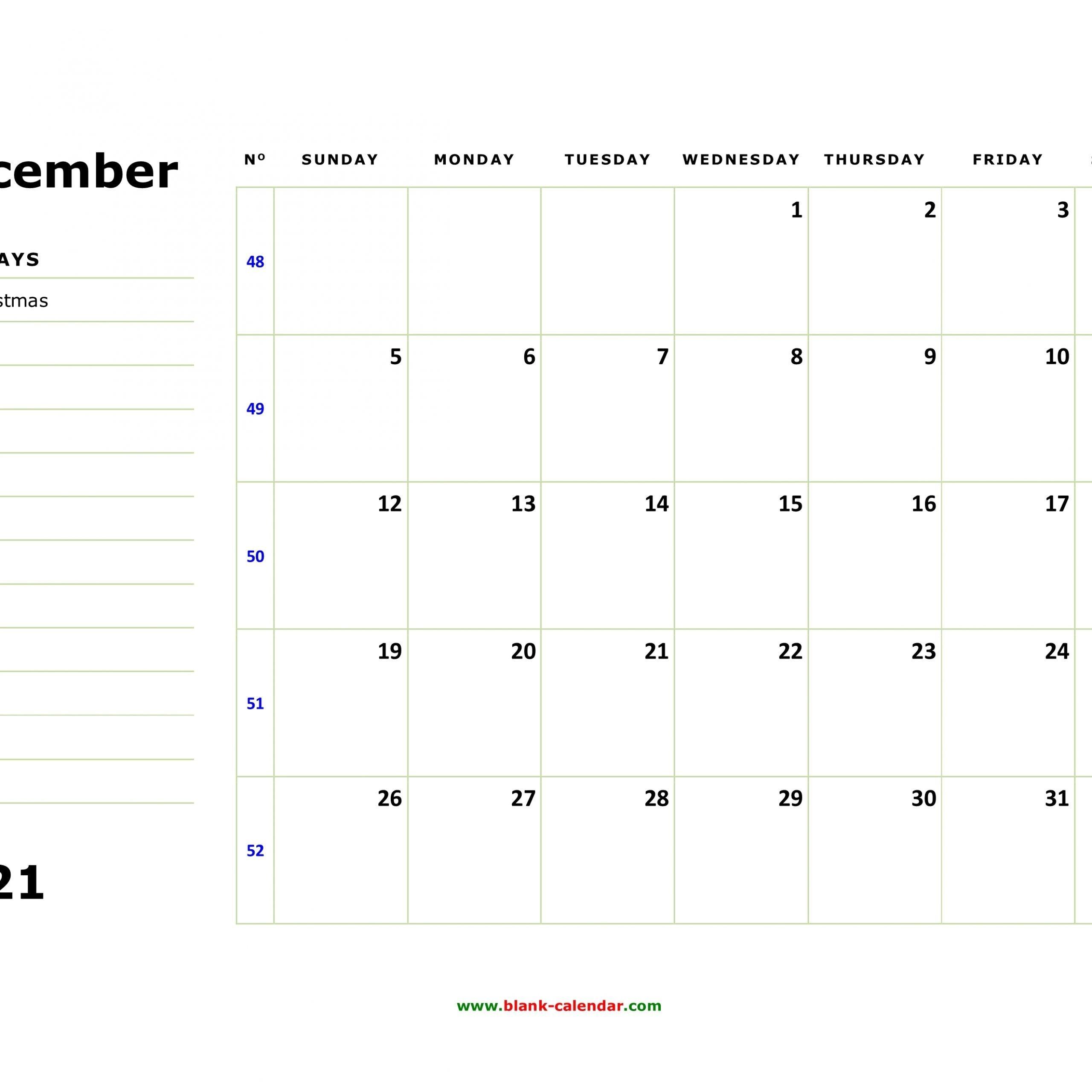 Calendar 2021 December Notes | Get Free Calendar