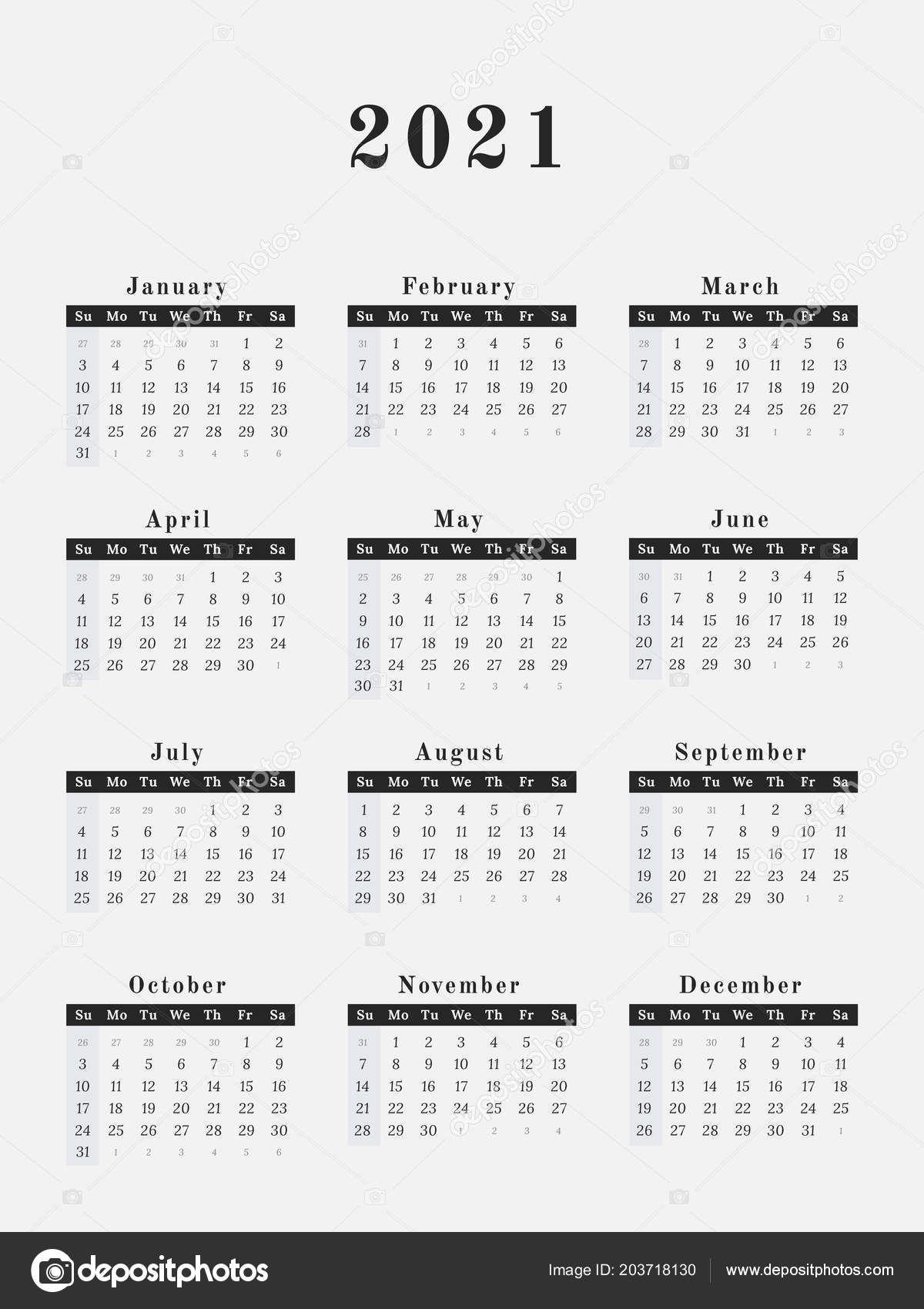 Calendar For Year 2021 | 2020Calendartemplates
