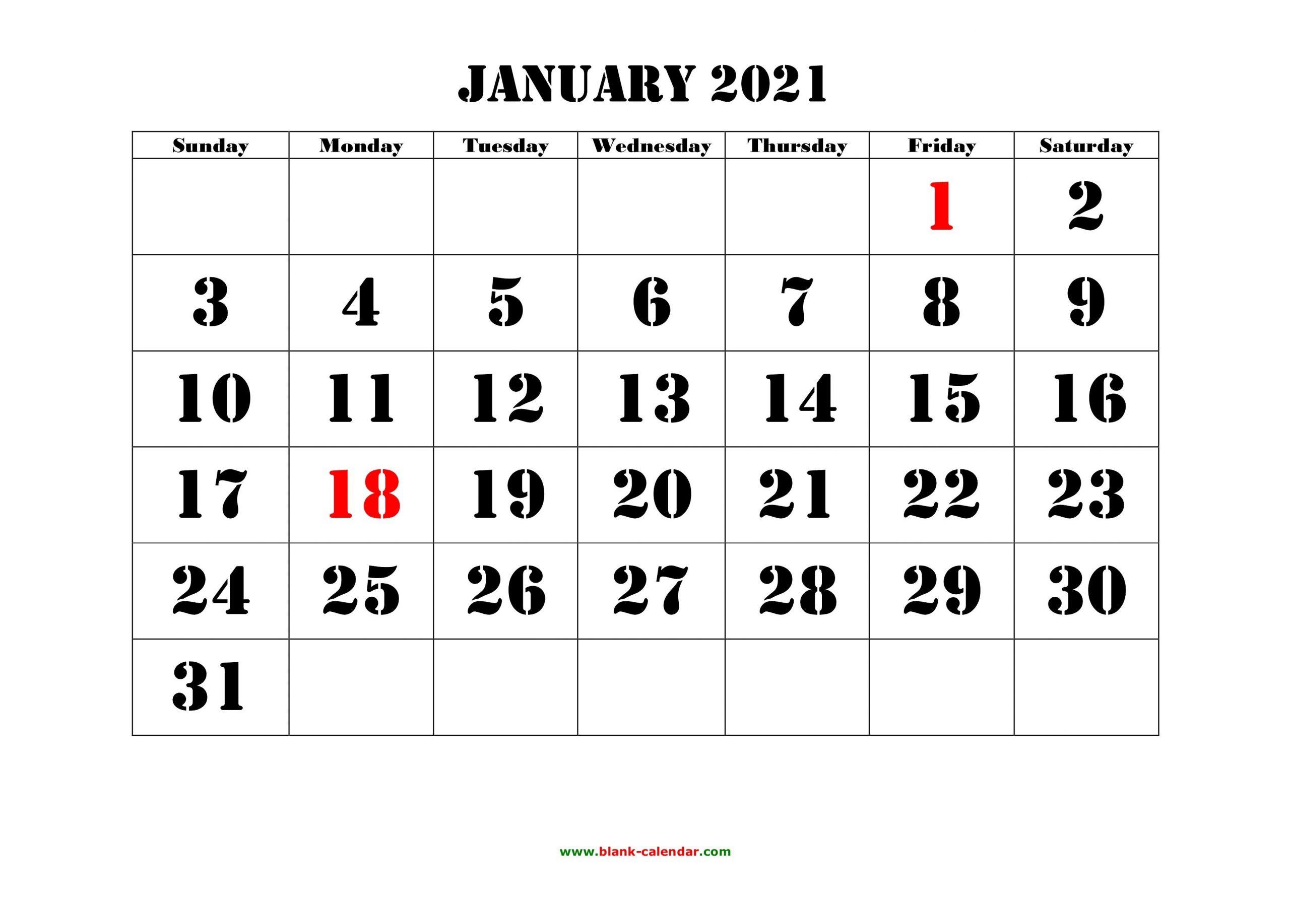 Calendar Grid January 2021 | Printable March