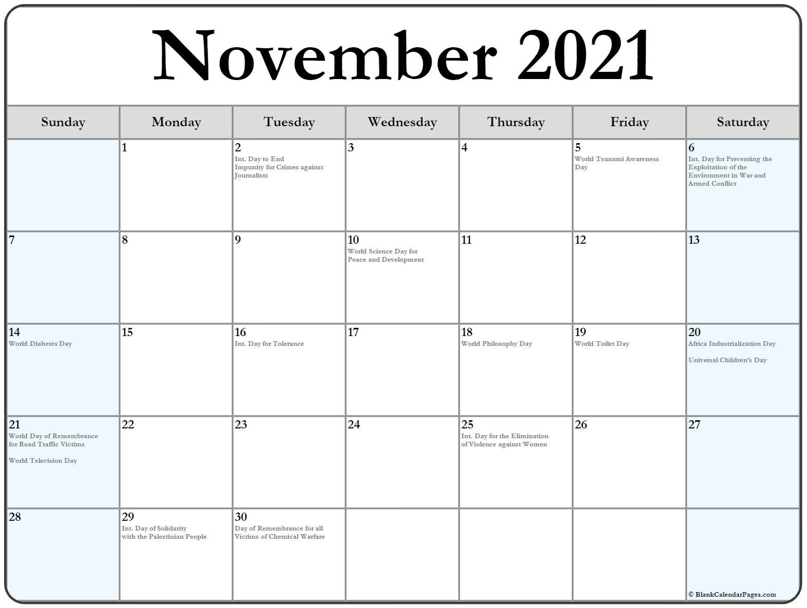 Collection Of November 2021 Calendars With Holidays