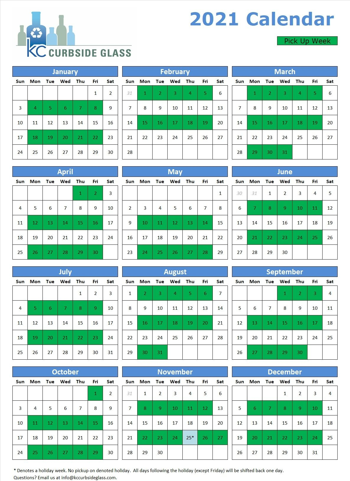 Curbside Recycling Calendar - Curbside Glass Recycling