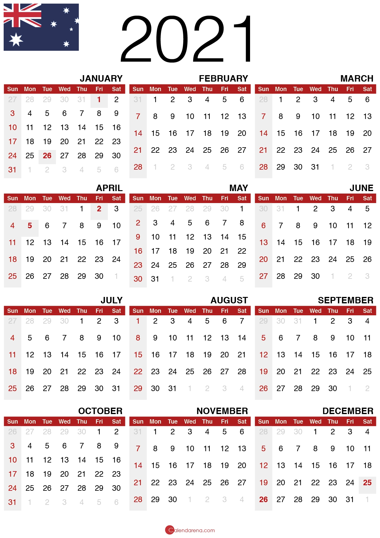 Download Free 2021 Calendar Australia 🇦🇺