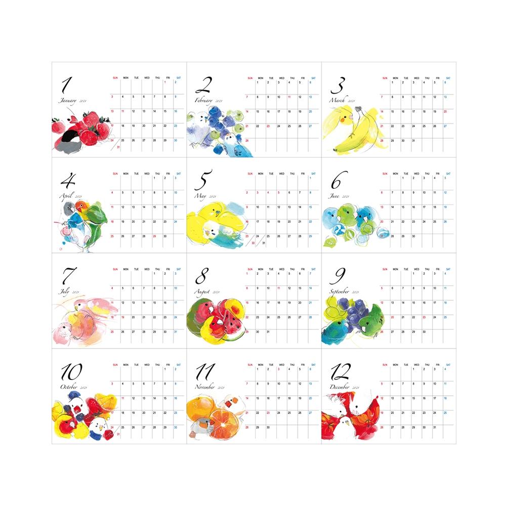 オクムラミチヨ 2021年カレンダー(卓上タイプ)|Birdstory