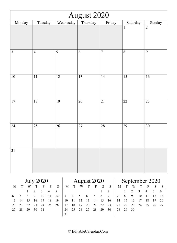 Editable Calendar August 2020