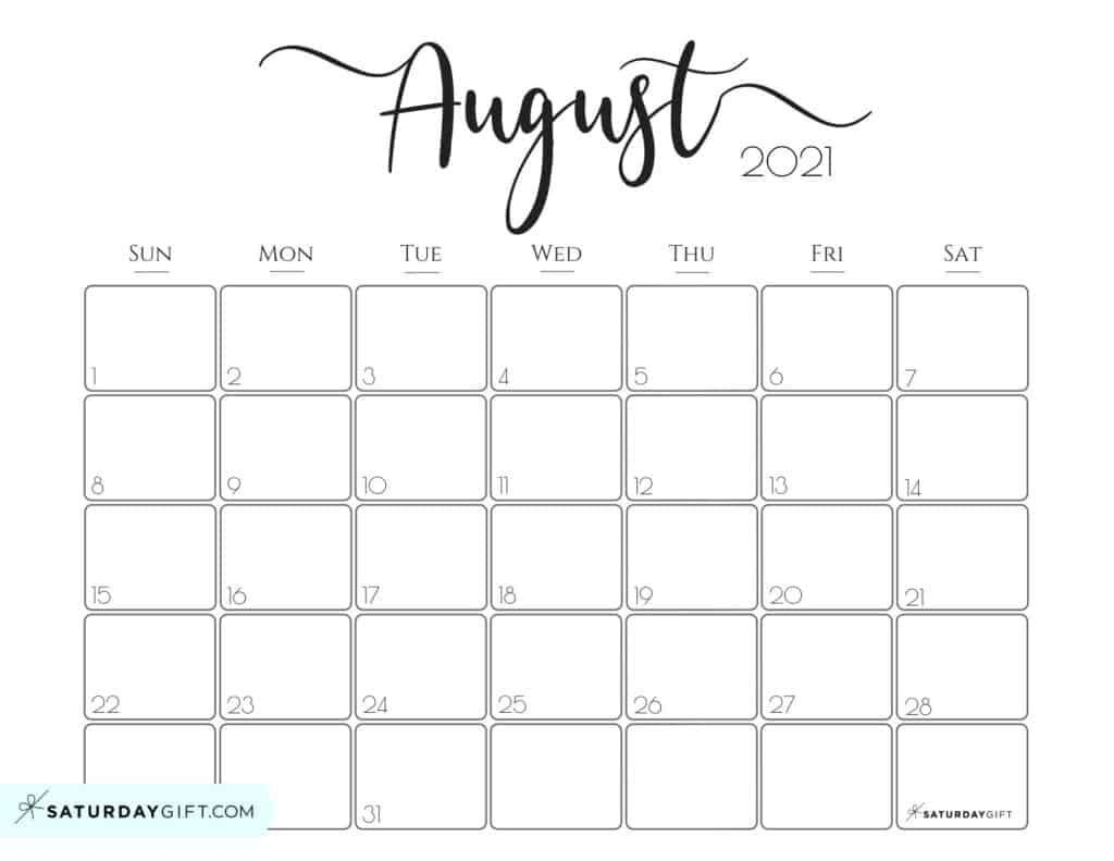 Elegant 2021 Calendar - Pretty Printable Monthly Calendars