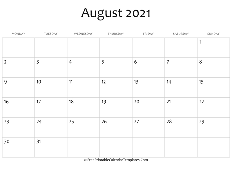 Fillable August Calendar 2021 (Horizontal)