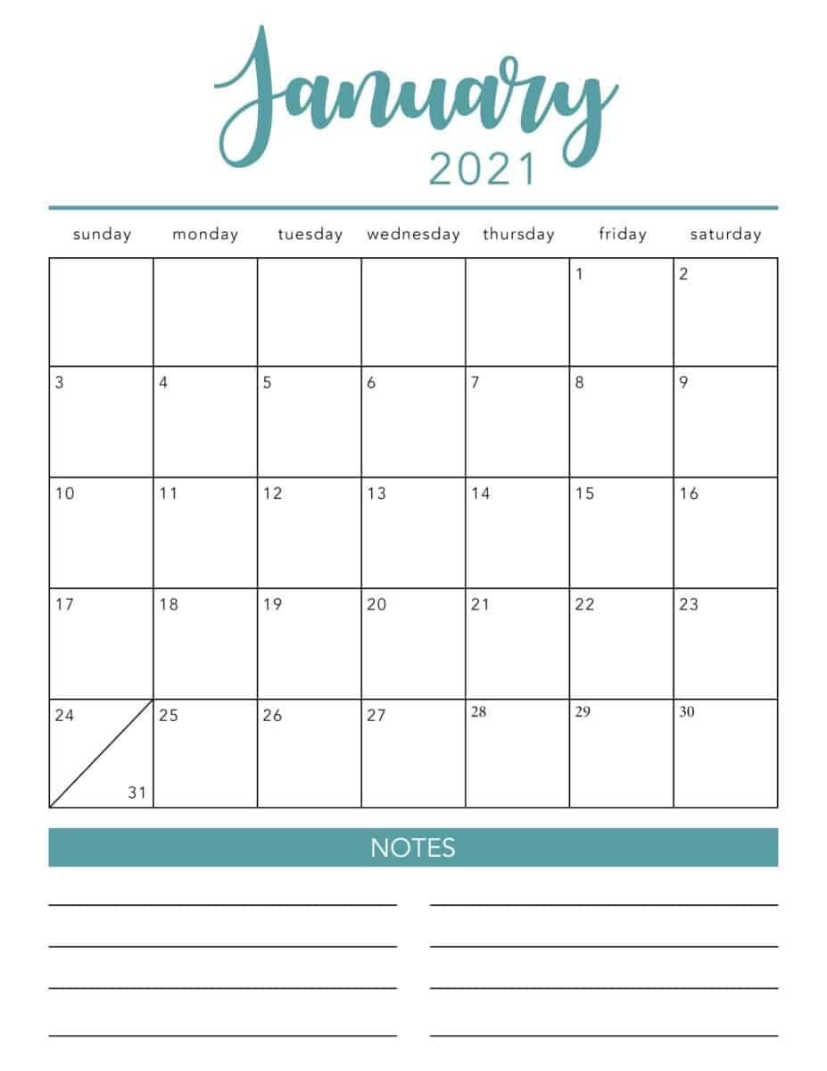 Free 2021 Printable Calendar Template (2 Colors!) - I
