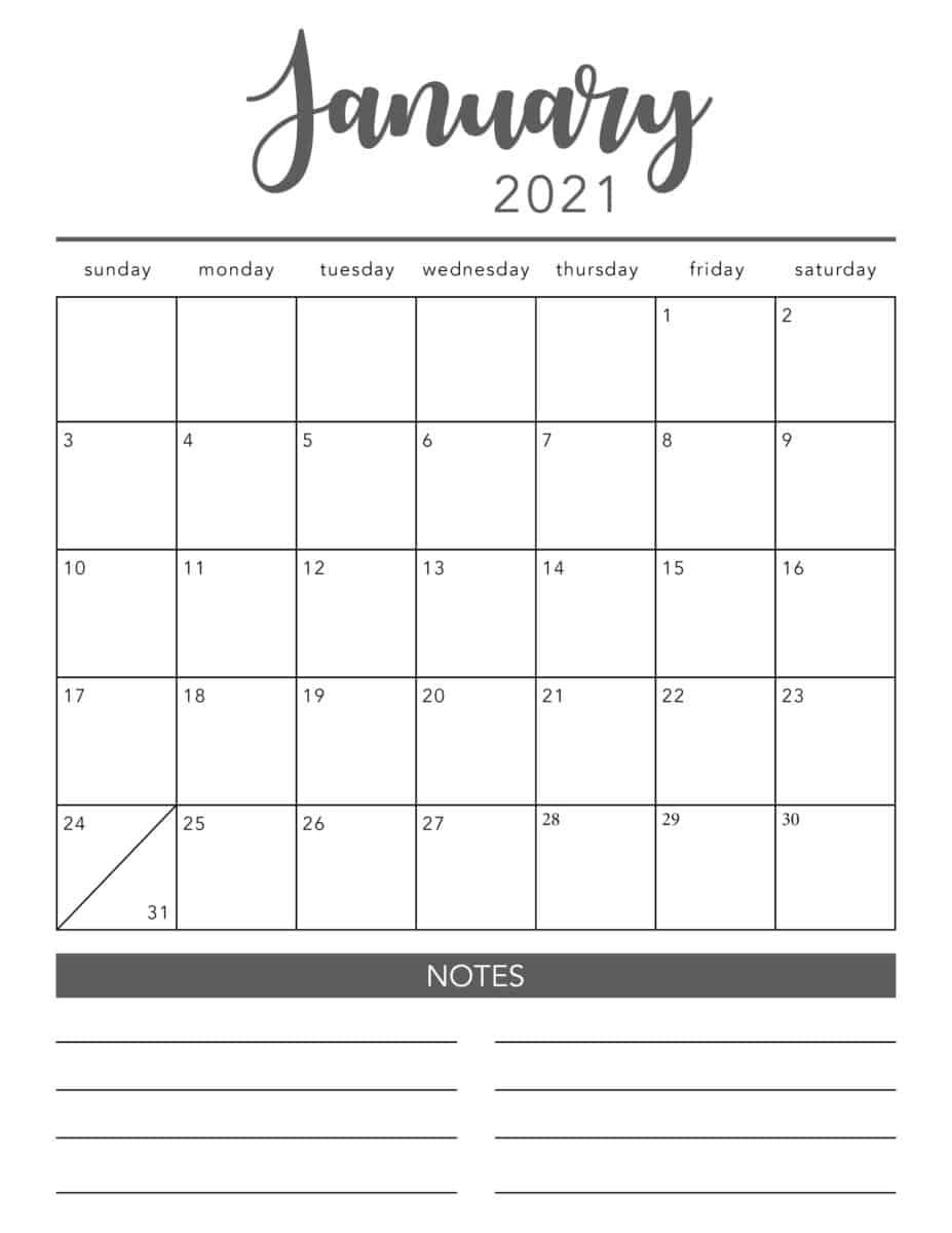 Free 2021 Printable Calendar Template (2 Colors!) - I