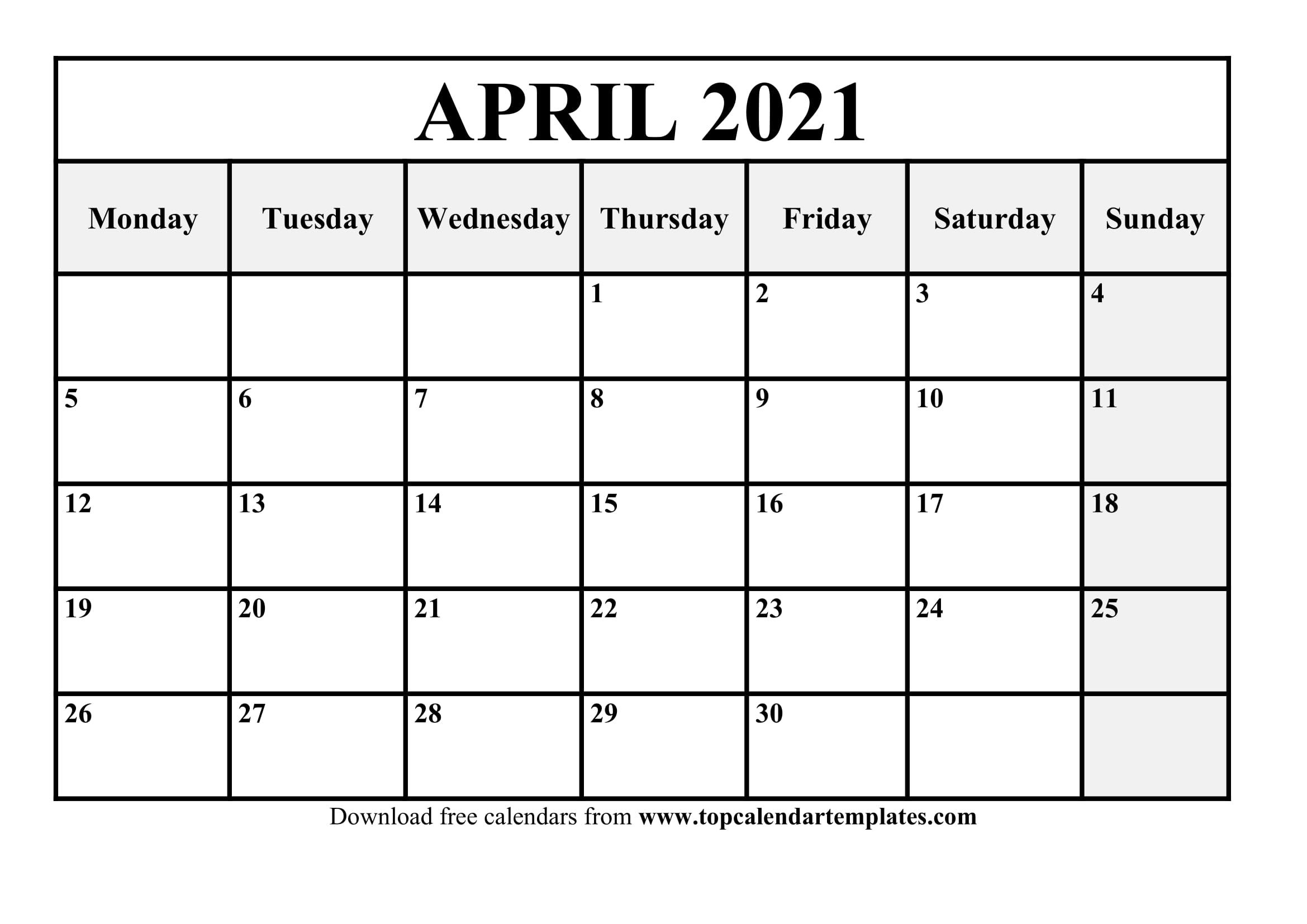 Free April 2021 Printable Calendar In Editable Format