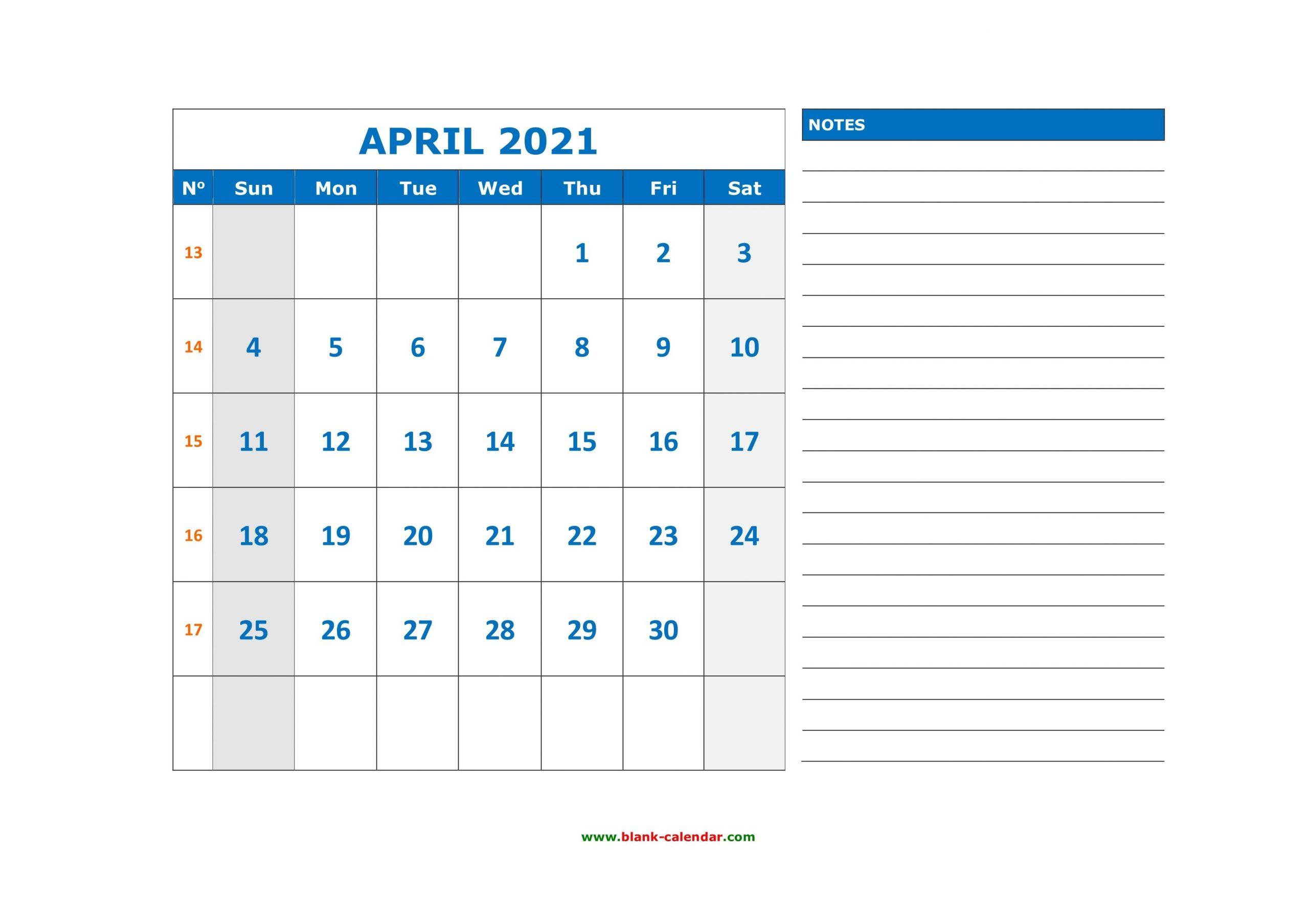 Free Download Printable April 2021 Calendar, Large Space
