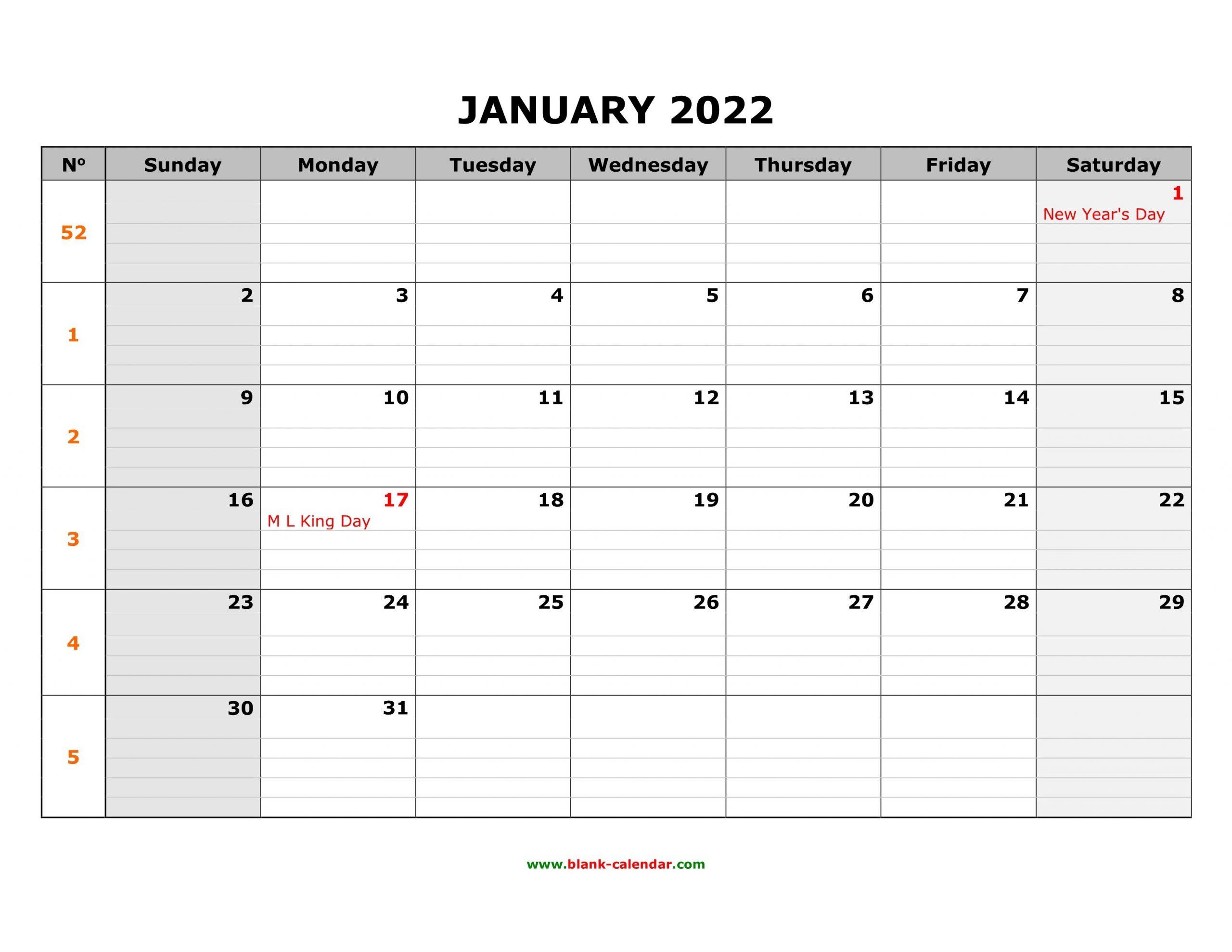 Free Download Printable Calendar 2022, Large Box Grid