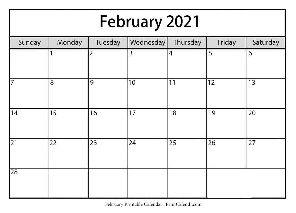 Free February 2021 Calendar Printable - Print Calendar