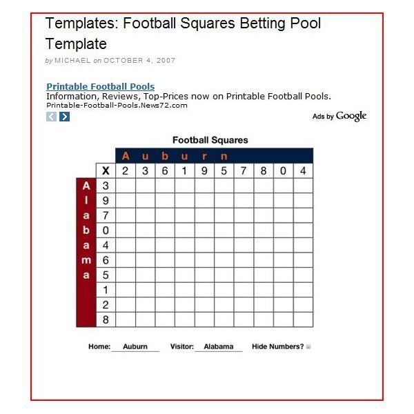 Free Football Square Template For 2021, [Printable And