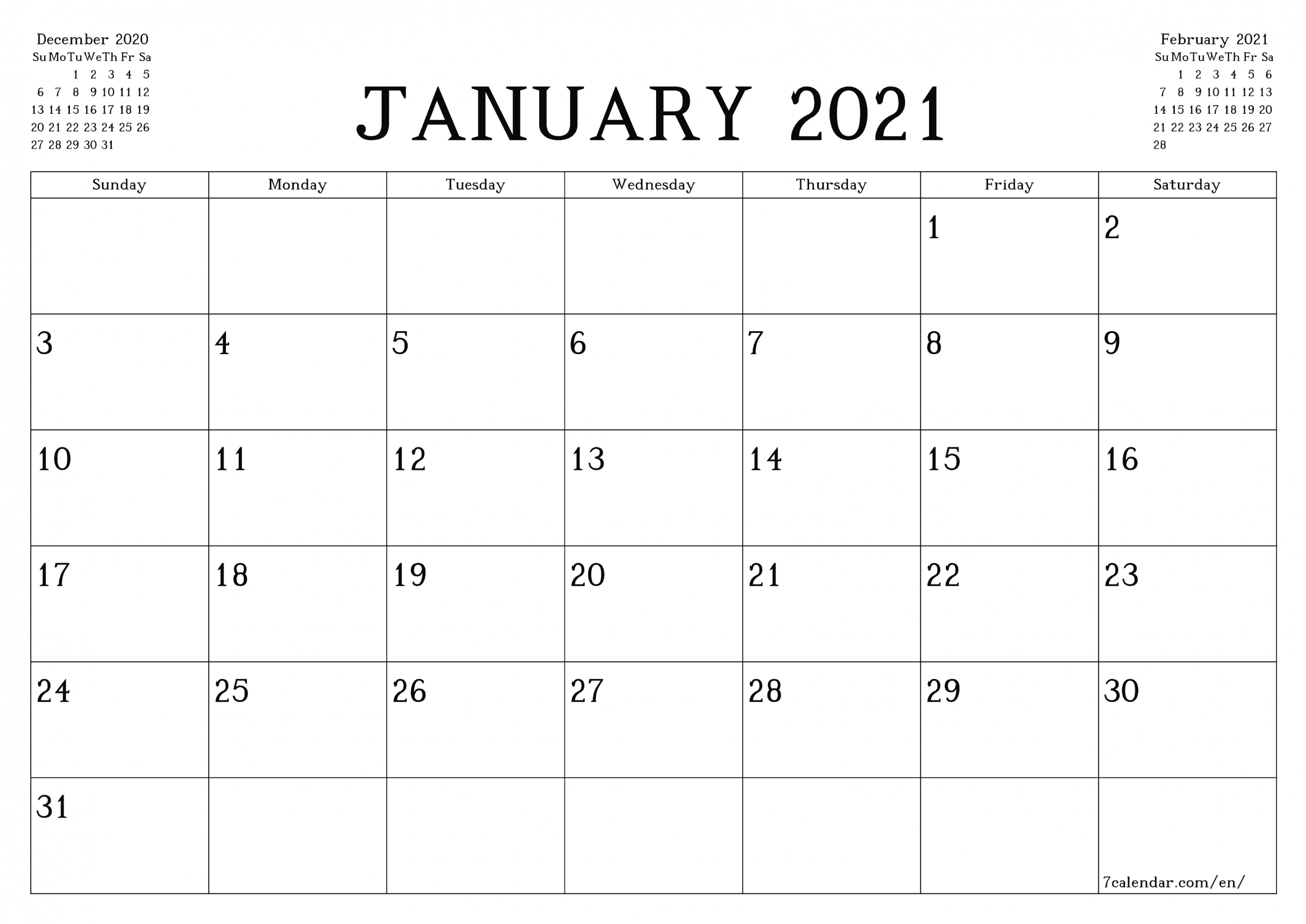 Free January 2021 Calendar Printable - Monthly Template