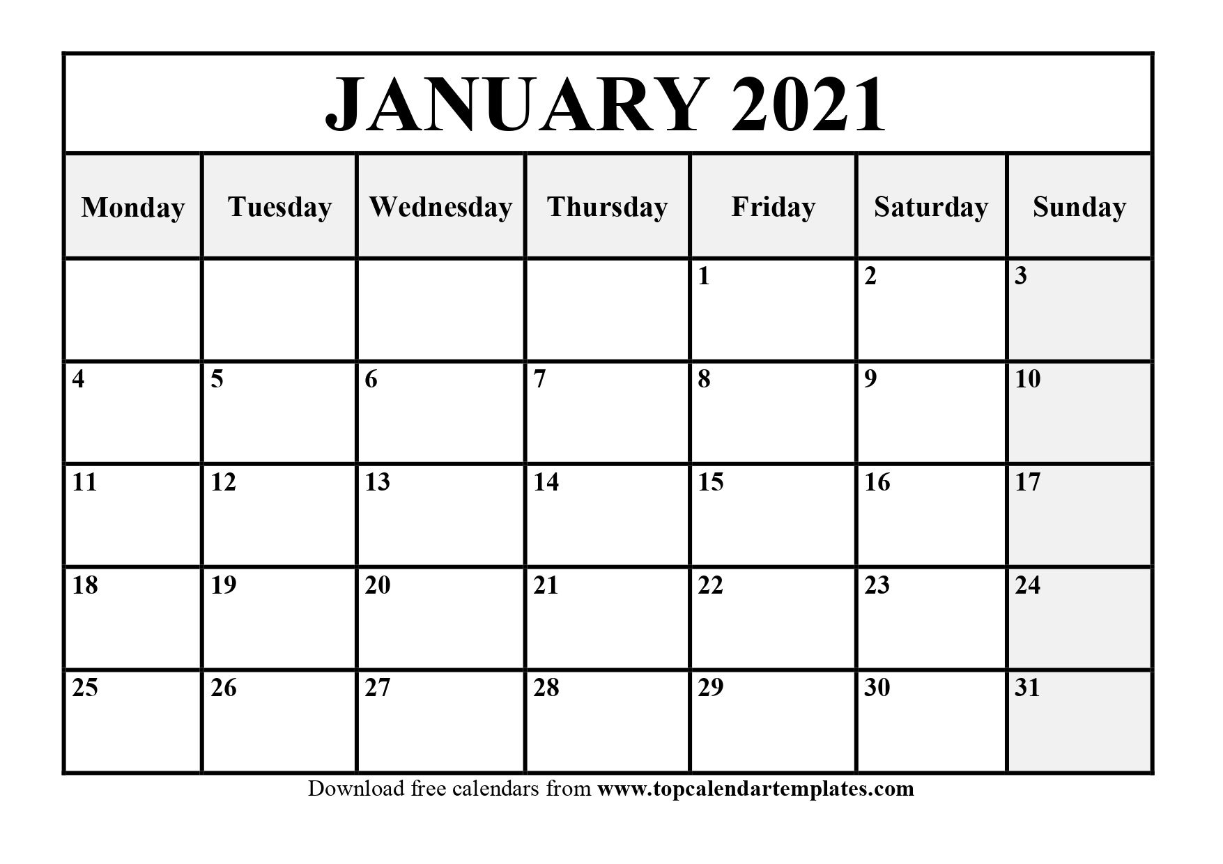 Free January 2021 Calendar Printable (Pdf, Word)