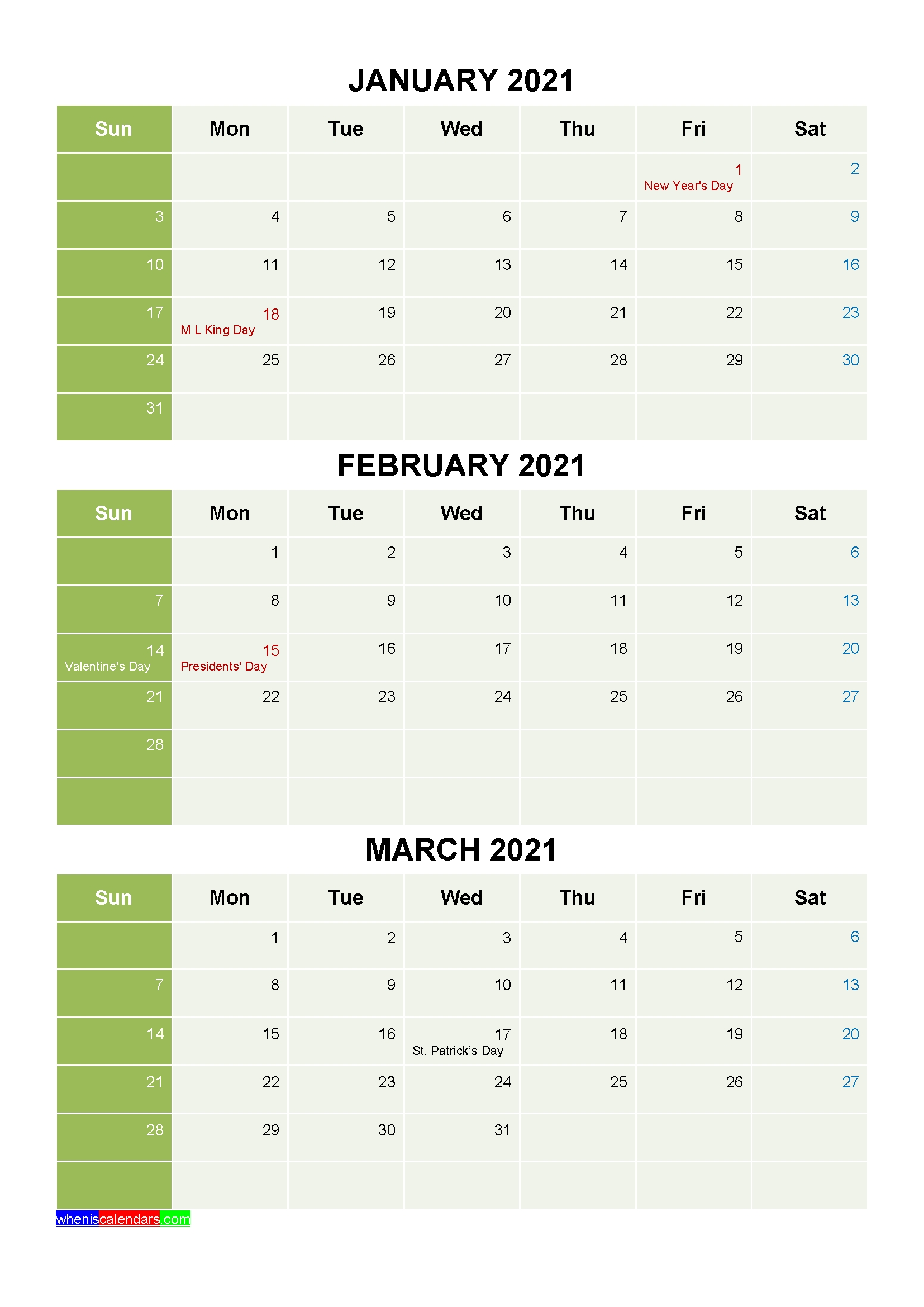 Free January February March 2021 Printable Calendar