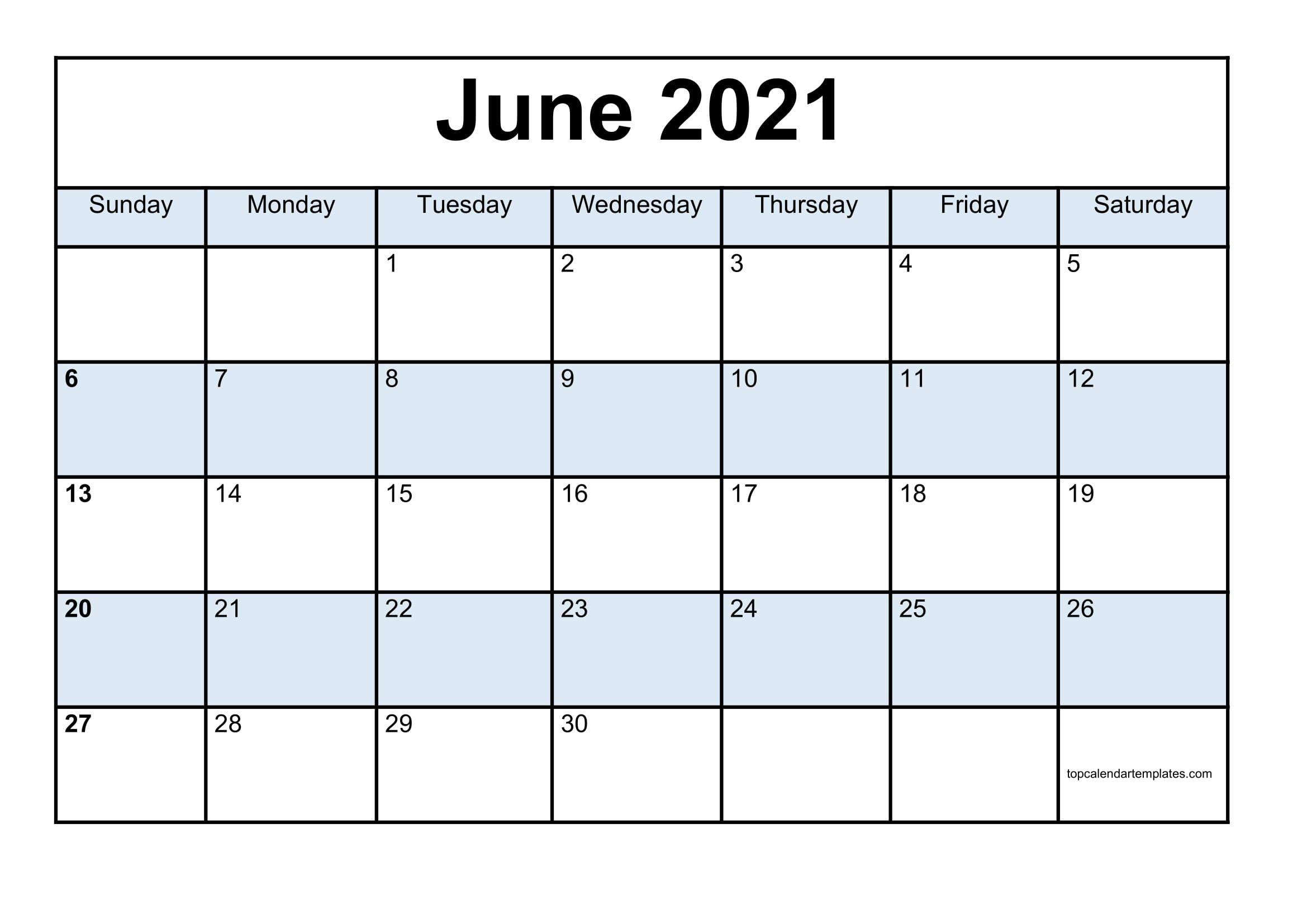 Free June 2021 Calendar Printable (Pdf, Word) Templates