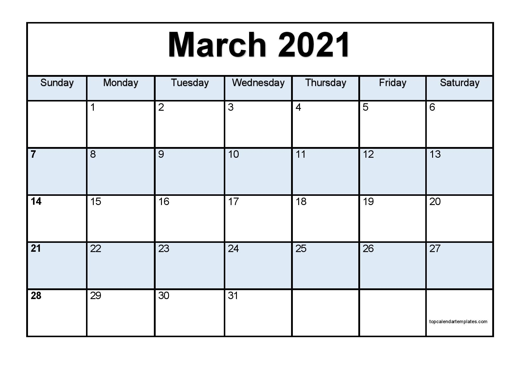 Free March 2021 Calendar Printable (Pdf, Word) Templates