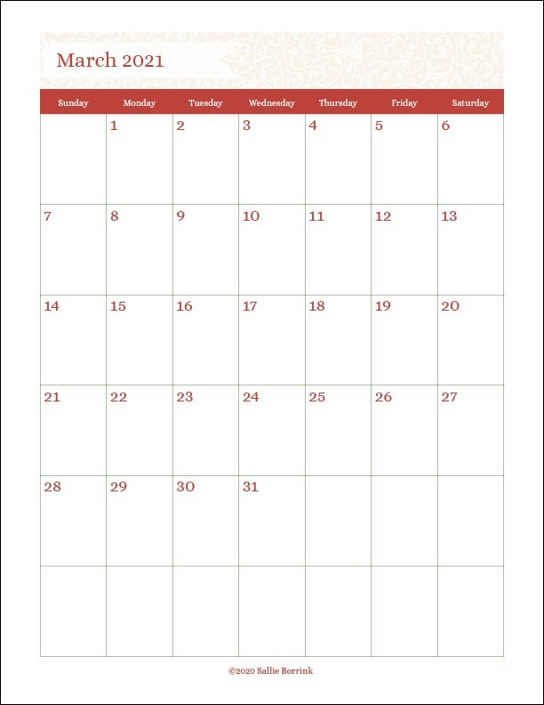 Free Printable Monthly Calendars {2020 & 2021} - A Quiet