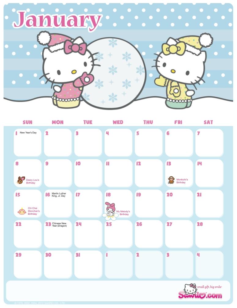 Hello Kitty Printable Calendar - Calendar Template 2020