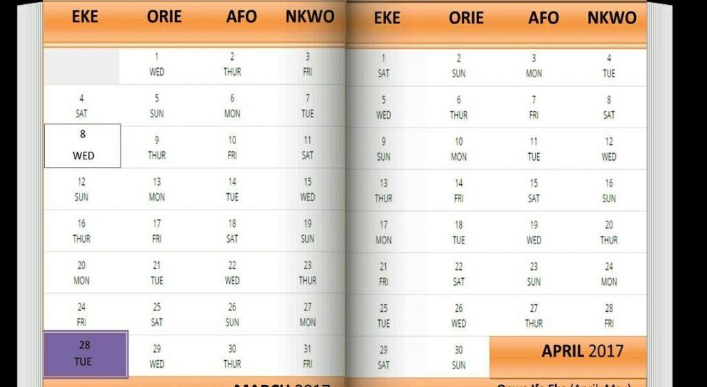 Igbo Market Days Information - Calendar Template 2020