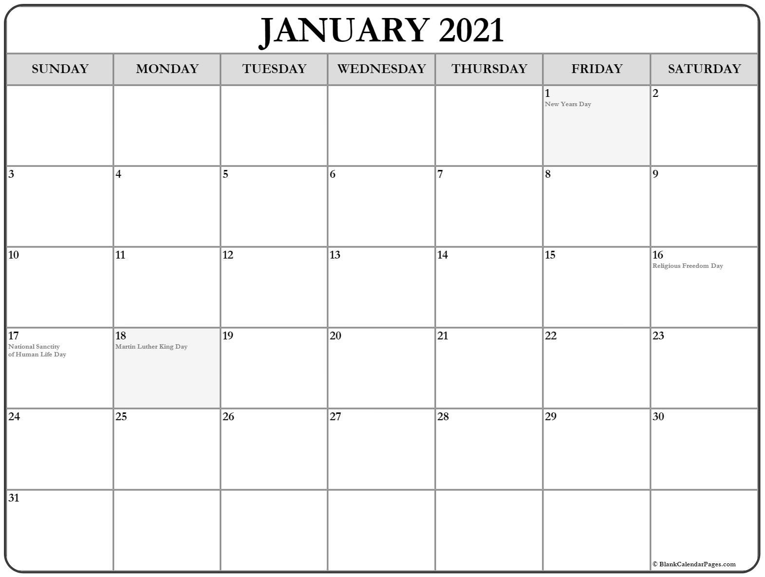 January 2021 Calendar | 56+ Templates Of 2021 Printable