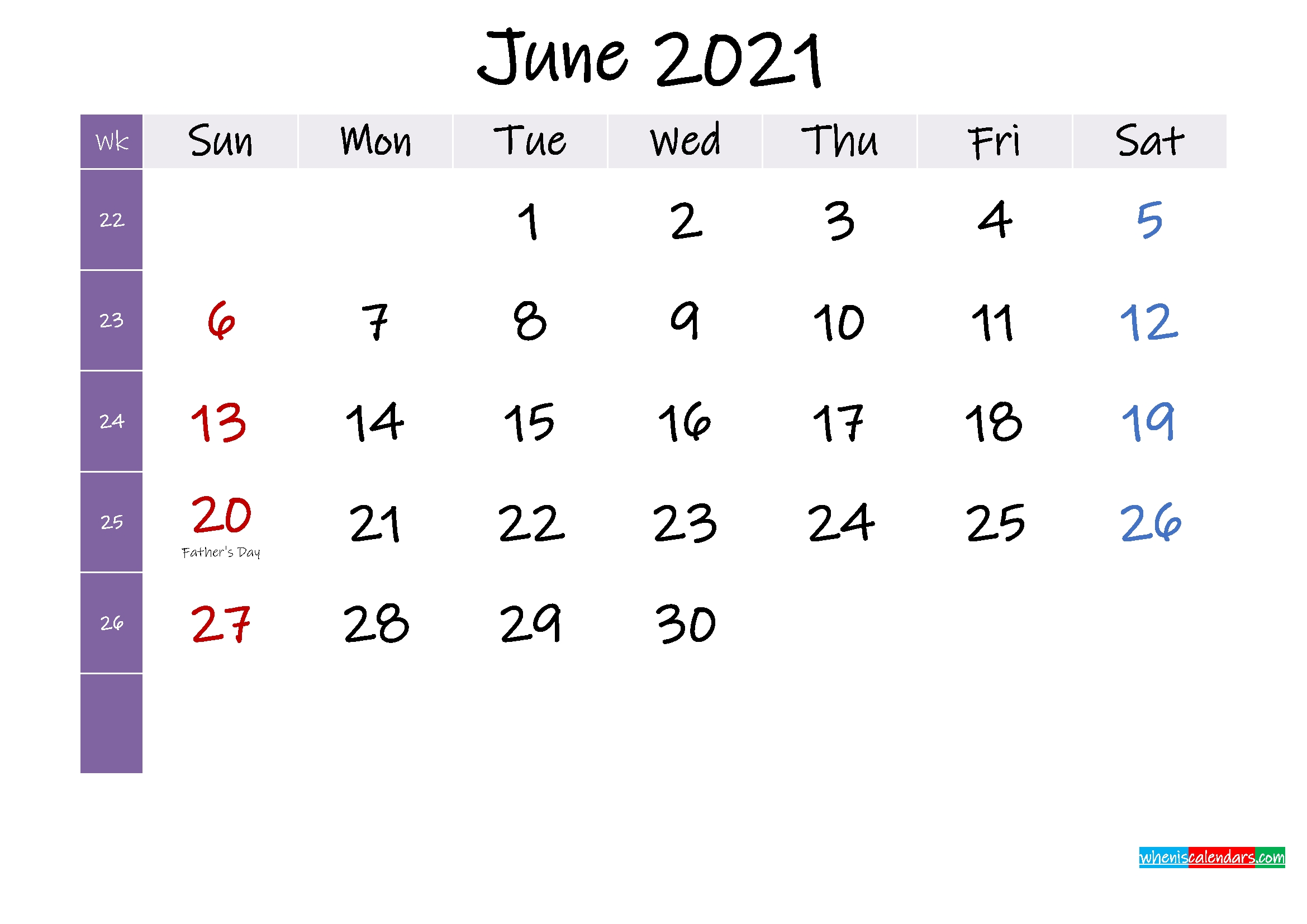June 2021 Free Printable Calendar With Holidays - Template