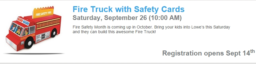 Lowe'S Build & Grow: Free Fire Truck - Mojosavings