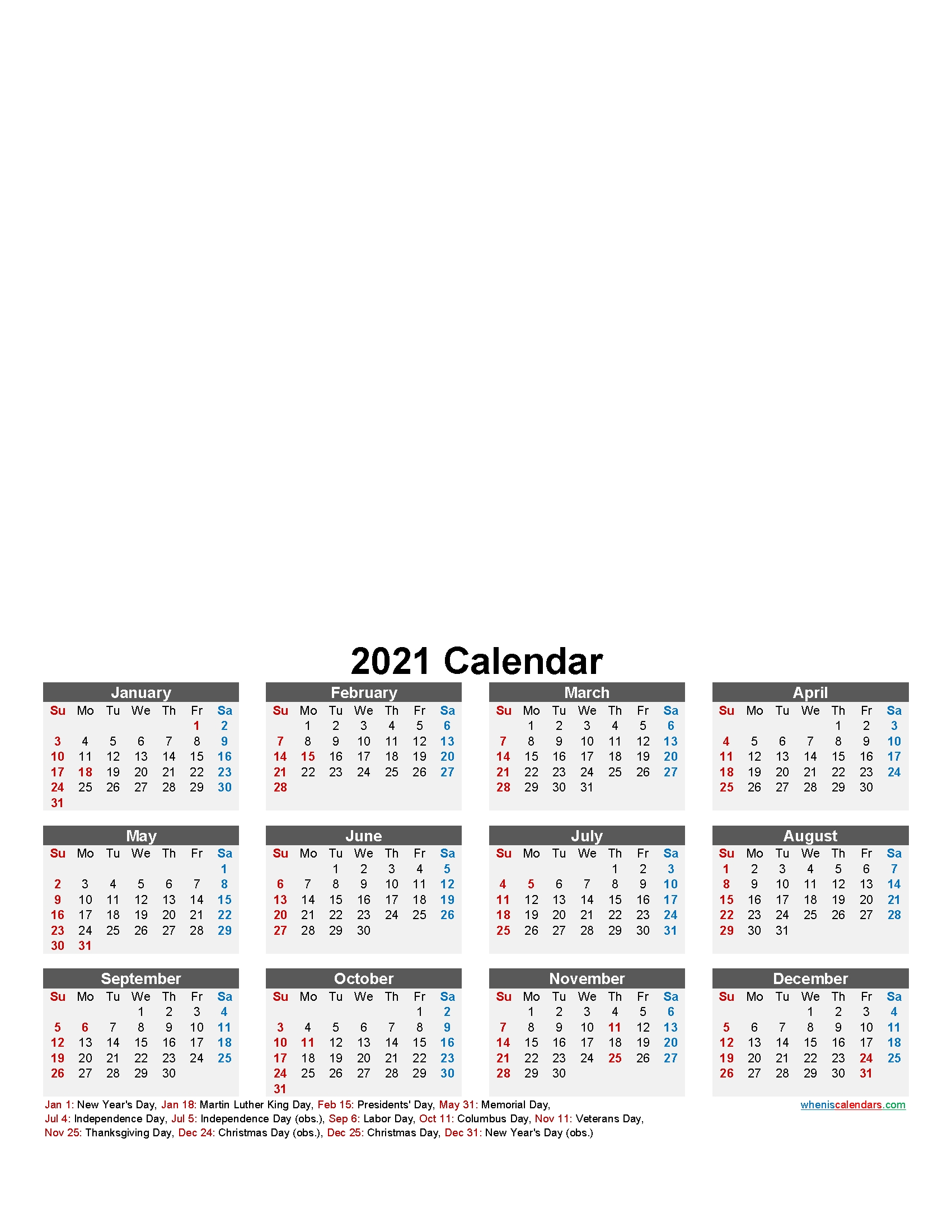 Make Your Own Photo Calendar 2021 - Template No.f21Y15