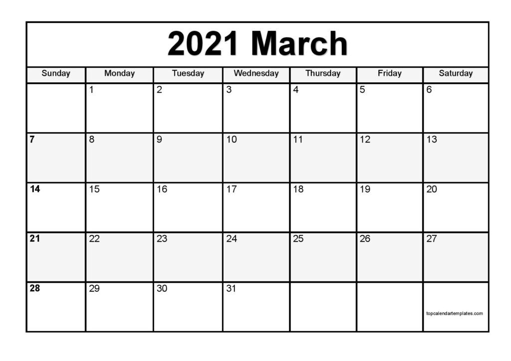 March 2021 Printable Calendar - Monthly Templates