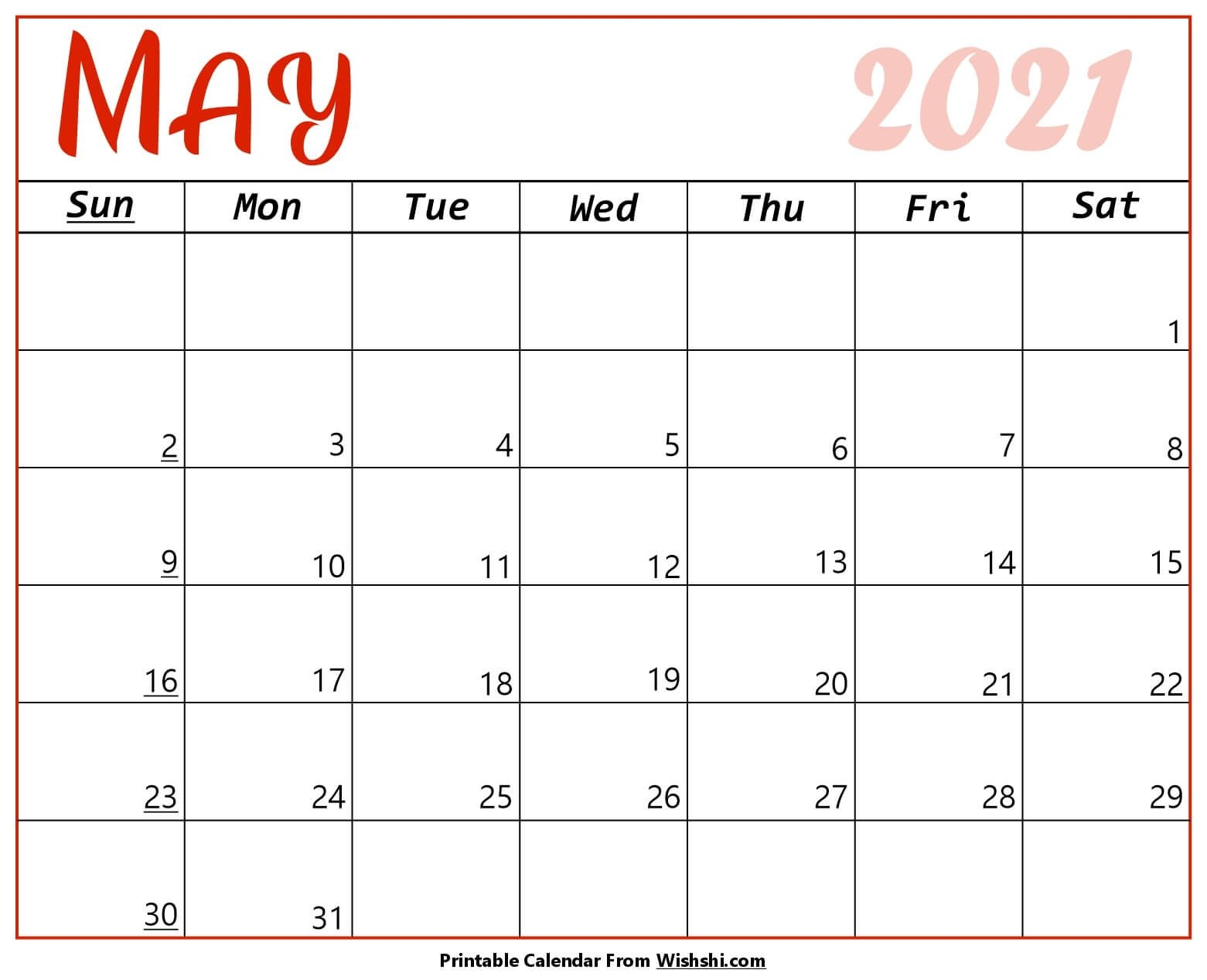 May 2021 Calendar Printable - Free Printable Calendars May