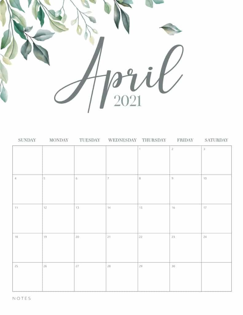 Minimal Botanical 2021 Free Printable Calendar - World Of