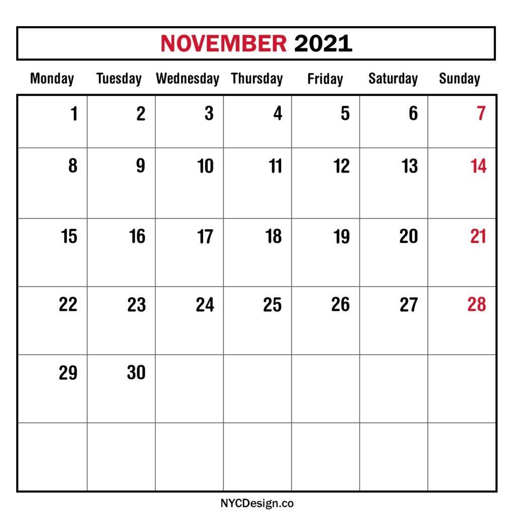 Monthly Calendar November 2021, Monthly Planner, Printable
