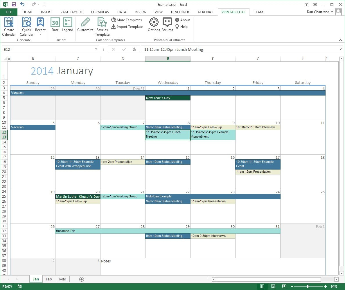 Monthly Calendar With Time Slots Template