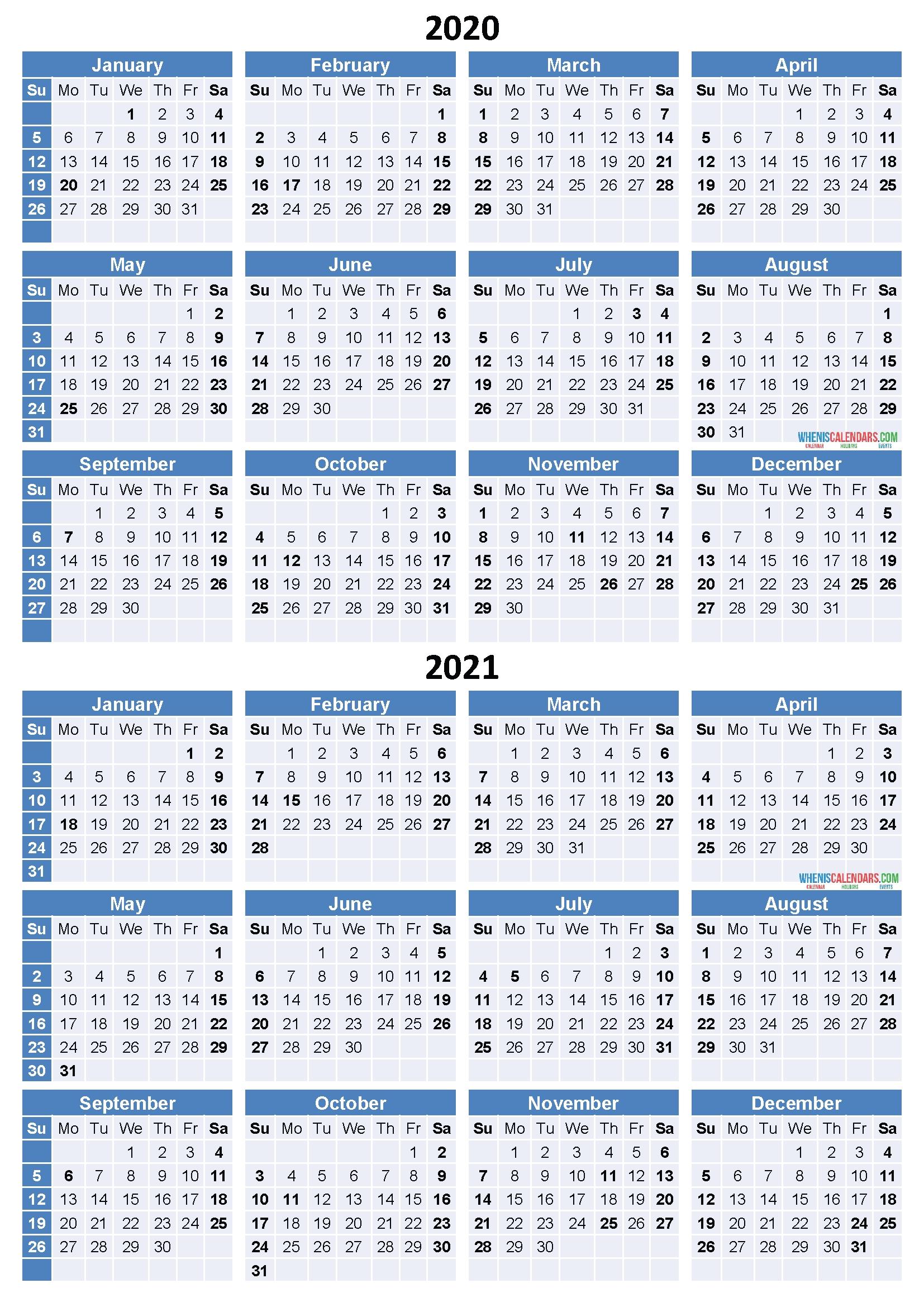 Printable 2 Year Calendar 2020 2021 - Calendar Printable Free