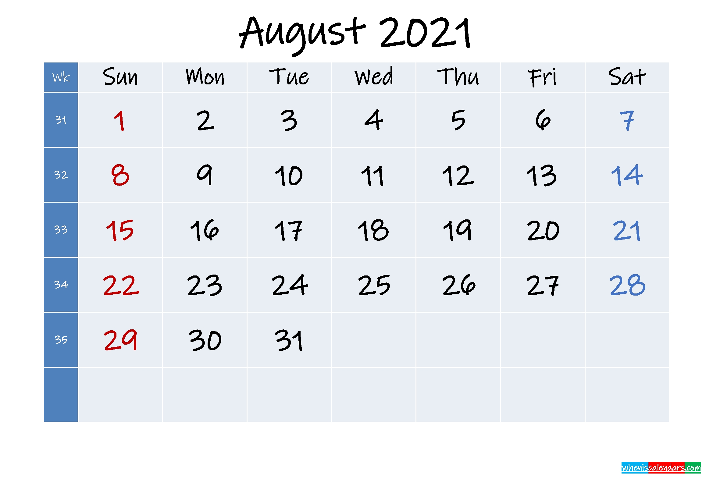 Printable August 2021 Calendar With Holidays - Template No