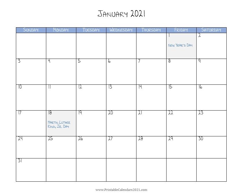 Printable Calendar January 2021 With Holidays Blank