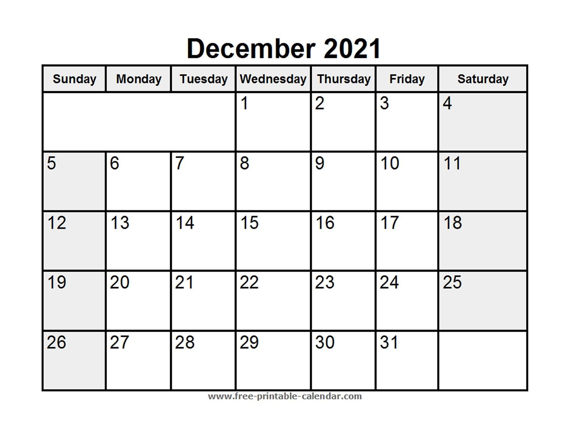 Printable December 2021 Calendar - Free-Printable-Calendar
