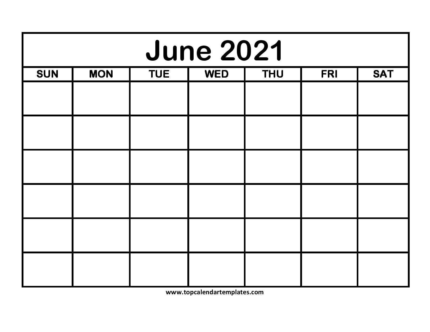 Printable June 2021 Calendar Template - Pdf, Word, Excel
