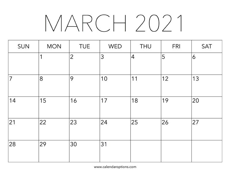Printable March 2021 Calendar - Calendar Options