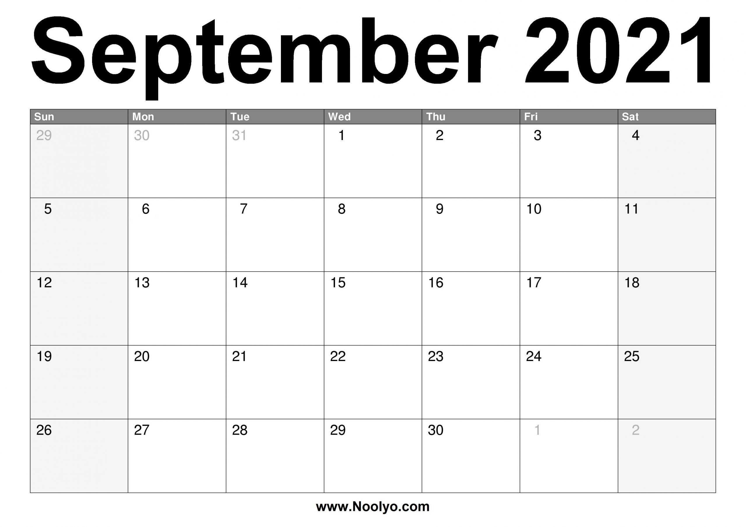 September 2021 Calendar Printable - Free Download - Noolyo