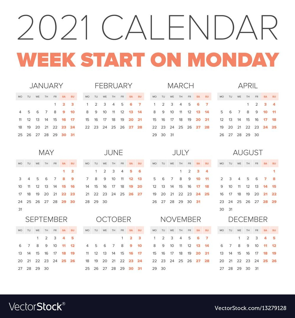 Simple 2021 Year Calendar Royalty Free Vector Image