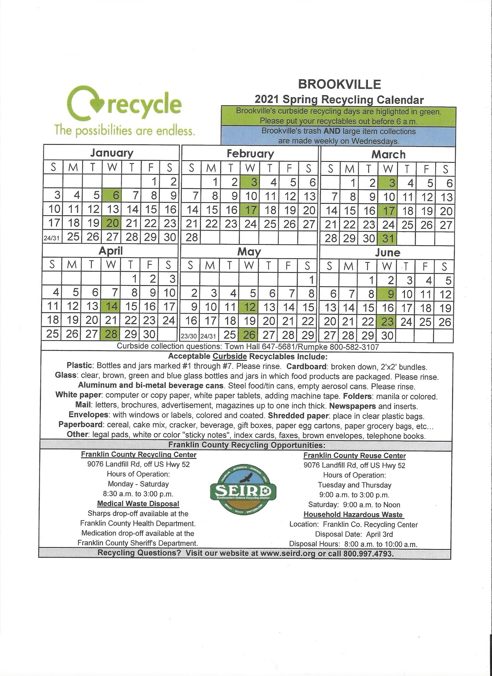Spring Recycling Schedule 2021 - Town Of Brookville