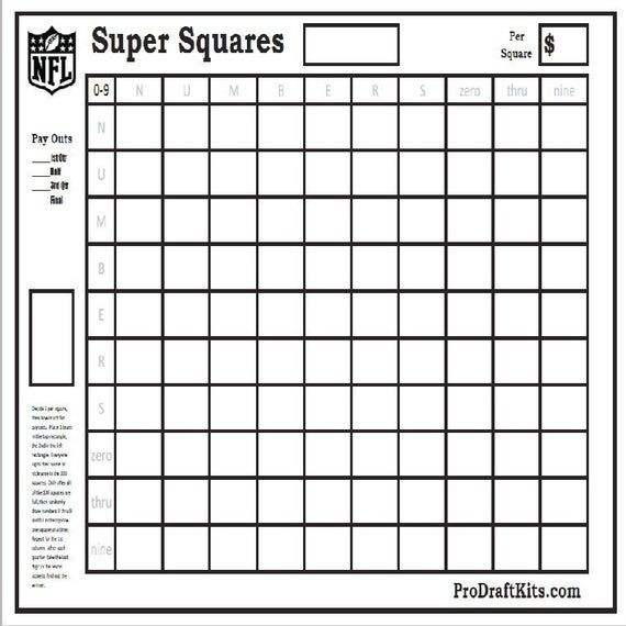 Super Bowl Squares 10 Pack Fantasy Football Weekly Party Game